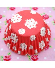 Baking Cups Snowflake Red