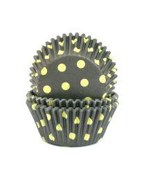 CK Baking Cups Zwart met Lime Stip
