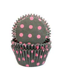 CK Baking Cups Zwart met Roze Stip