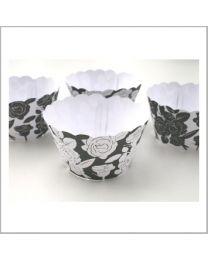 Cupcake Wrapper Rozen zwart/wit  - 12