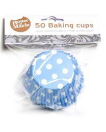 HoM Baking Cups Blauw met witte stippen - 50