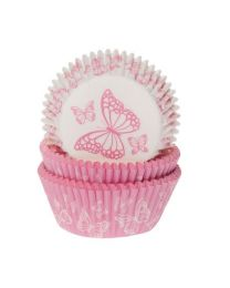 House of Marie Baking Cups Vlinder Roze assorti pk/50