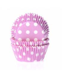 HoM Baking Cups Baby Roze met witte Stippen - 50