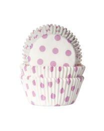 HoM Baking Cups Wit met Licht roze Stippen - 50