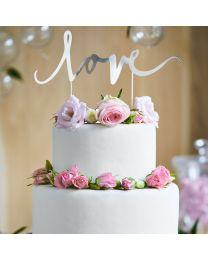 Cake Topper - Love - zilver - PartyDeco