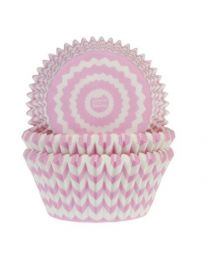 House of Marie Baking Cups Chevron Roze pk/50