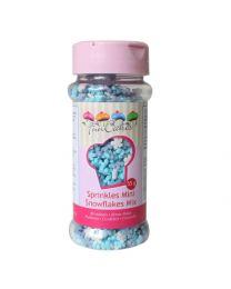 Funcakes mini sneeuwvlokken wit/licht en donker blauwe mix