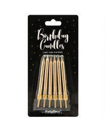 Gouden verjaardag kaarsen - 6 cm - pk/6