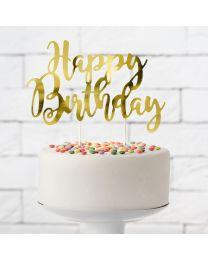 Cake Topper Happy Birthday Goud - PartyDeco