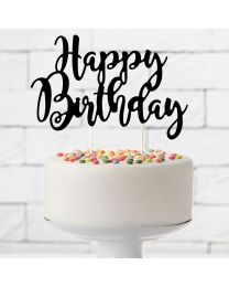 Cake Topper Happy Birthday Zwart- PartyDeco