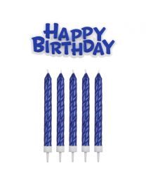 PME Candles & Happy Birthday Blue pk/17