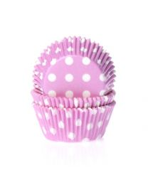 HoM Baking Cups Polkadot pink/Roze met witte Stippen - 50