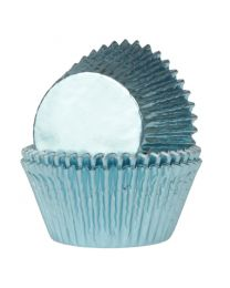HoM Baking Cups baby Blauw folie - 24stuks