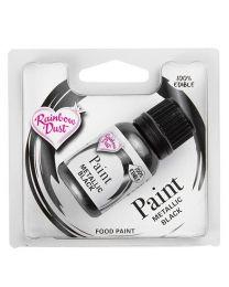 Metallic Food Paint Black - 25ml - RainbowDust