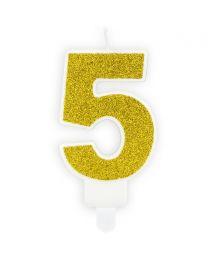 PartyDeco Verjaardag Kaars Nummer 5 - Goud