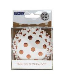 PME Foil Lined Baking Cups Rose Gold Polka Dot pk/3