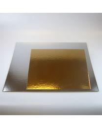 3x Vierkante taartkartons Zilver/Goud 25 cm